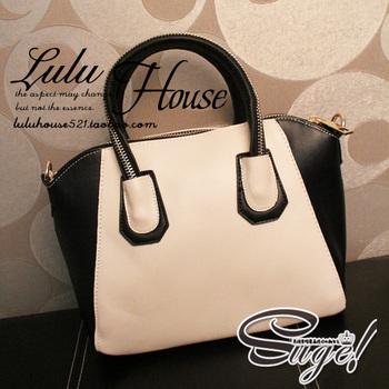2013 HOT fashion cross-body women's black and white leather handbag zipper handle brand vintage color block smiley bag promotion