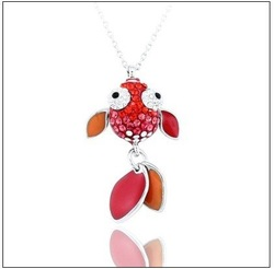 "Free shipping Lovely red ""Fish"" Rhinestone Pendant #PE000031 sterling silver jewelry, wholesale fashion jewelry(China (Mainland))"