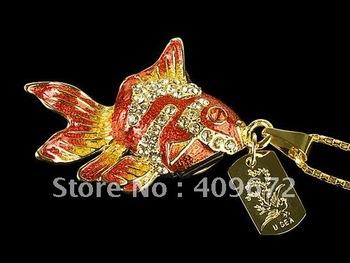 retail genuine 2G 4G 8G 16G 32G usb drive thumb drive usb flash drive memory jewelry common goldfish Free shipping+Drop shipping