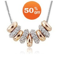 sale 1952  white gold plated multi round circles crystal Necklace pendant zircon rhinestone crystal jewelry  Min order=$10