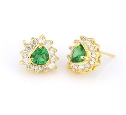 Free shipping Exquisite Cubic Zirconia Green Sapphire Lady Earrings #EA010513000007 sterling fashion jewelry wholesale price(China (Mainland))
