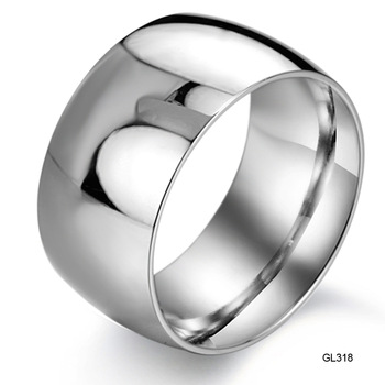Fashion Jewelry Stainless Titanium Steel Rings Wide Silver Simple Slippy Circle Men Rings Wedding Engagement Rings gj318