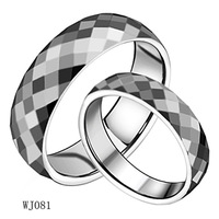 Fashion Jewelry Tungsten Stainless Steel Rings Silver Round With Diamond Cell Couple Rings Wedding Engagement Rings wj081