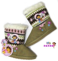 dora thin  children shoes female snow  boots  baby  thin cotton-padded fashion winter high heel