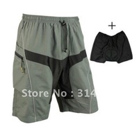 Free Shipping New 2012 MTB Loose Fit Mens Bike Cycling Shorts + Underwear 3D Padded Leisure Bicycle Pants, Size:M-2XL
