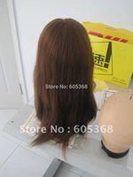 free shipping mongolian virgin hair 16inch brown hair jewish wig small cap size