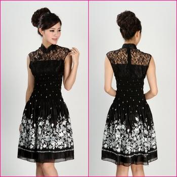 Fashion slim tank dress quality prom lace elastic waist sleeveless one-piece dress