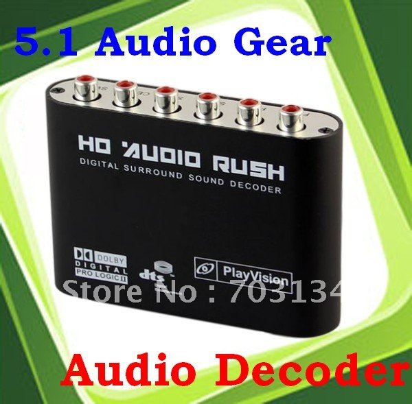 5.1 Channel Digital Audio Converter DTS/AC-3 Stereo Sound Audio Decoder Freeshipping&Dropshipping(China (Mainland))
