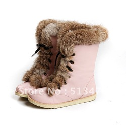 2012 New Fashion Casual Shoes Nude Color Thermal Fleece Plush Rabbit Fur Round Toe Medium Leg Boots snow boots(China (Mainland))