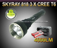 10set,SKY RAY 818 3*CREE XM-L XML T6 4000 Lumens 5-mode LED Flashlight High Power Torch+ 2* 18650 3000mah Battery+travel charger