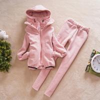 Женские толстовки и Кофты Bestselling! Autumn Winter Korea Women Fashion Casual Thickening Sweatshirt Sports Suit Hoodies+Pants Lady's Tracksuits Twinset