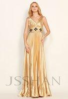 V-Neck Straps Beaded Pleated Elegant Gorgeous Luxury Unique Gold Elastic Woven Satin Evening Dress Prom Dresses