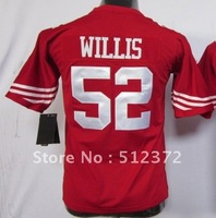 Free Shipping!!! 2012 new style #52 Patrick Willis Youth Kids jersey red