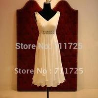 C Real Sample Simple Elegant Country Style Plus Size V Neck Chiffon Night Short Wedding Dress Crystal Short Evening Dress Formal