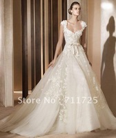 Free Shipping Real Sample Tulle Wedding Dress 2014 New Beads Sequins A Line Lace Applique Designer Ball Gown Wedding Dresses