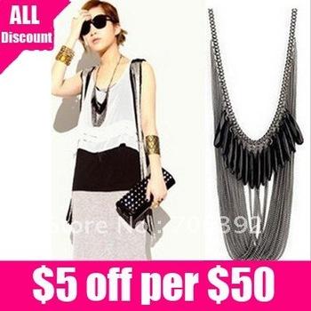 Free Shipping Korea Fashion Black Stones Multi Tassel Drop Necklace 1pcs/lot