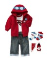 2012 Wholesale New winter 3-pcs Cartoon monkey kids baby clothes suit(coat with cap +romper+jeans),4 set/lot,Free Shipping