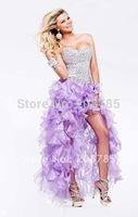 Hot sale Sweetheart  Celebrity Dresses Sheath Fold Hi-Lo  Rhinestone Beaded Organza