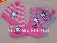 Christmas Gift  2012 girl fashion Cap Girls love hello kitty fashion scarf +hat knitting free shipping