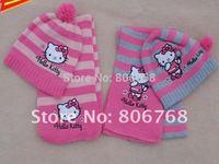 Christmas Gift  2014 girl fashion Cap Girls love hello kitty fashion scarf +hat knitting free shipping