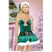 free shipping Sexy Green Xmas Santa Velvet Costume Dress sexy christmas dress