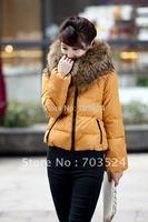 2014 free shipping Winter large raccoon fur women's short design down coat female