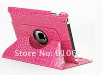 high quality hot selling 360 Degree Rotary Crocodile leather Case Stand Holder for ipad3 ipad 2