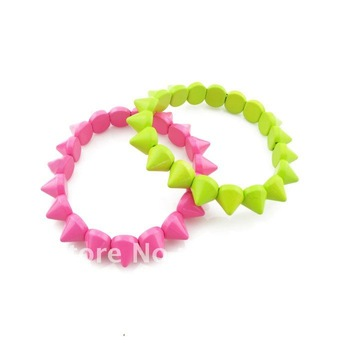 Free shipping Fashion Bullet Spike stretch Bracelet Bangle 10pcs/lot European Style Mix Colors