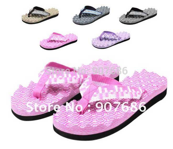 10pcs/lot New Style Fashion Womens Girls Mens Boys Casual Flip Flops Beach Sandals Massage Slipper Free Ship #3332(China (Mainland))