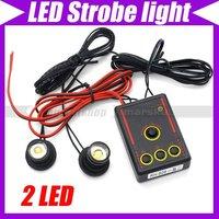 Car Auto Truck Motorcycle White Flash Emergency Warning LED Strobe Light 2 lamp Bulbs  kit #2085