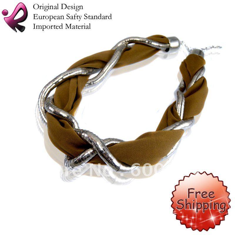 Rainso Free Shipping 2014 Fashion Scarf With Fashion Jewelry Charm Short Scarf Jewelry Pendant OFN-403CS(China (Mainland))