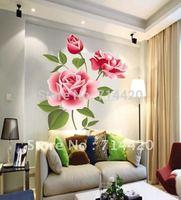 50*70cm Rose Flower Butterfly Removable Wall Vinyl Decal Art DIY Home Decor Wall Sticker
