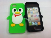 500pcs/lot For iphone 5, Silicon Case Cover Skin with Penguin Design free shipping
