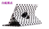 360 Degree Rotating Magnetic Polka Dot Leather Case cover for 2 ipad2 New 3 ipad3 Stand Auto sleep