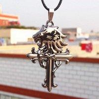 New arrival Vintage Leather Cord Titanium Stainless Steel lion head Cross Pendant Necklace Fashion Men 12pcs