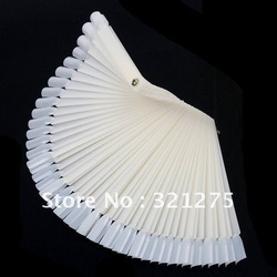Free Shipping 50PCS Ivory White Plastic Flase Nail Art Tips Stick Display Practice Fan Board&Nail Art Display natural color(China (Mainland))
