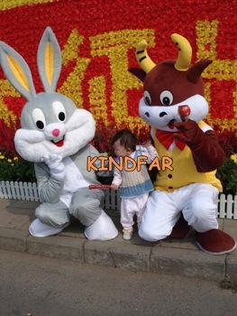 Fation Easter Bunny and Cow Mascot Costume Adult Halloween Cartoon Party Outfits Dress Free Shipping