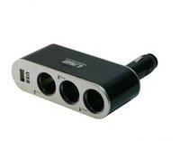 free shipping!!! Auto Car Cigarette Lighter Socket USB+3 way Splitter Plug Charger