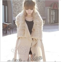 2046 winterisation thermal faux woolen slim female outerwear beige colored overcoat