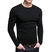 Thickening high-elastic slim men's clothing o-neck long-sleeve T-shirt male basic shirt st-801
