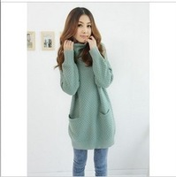 2046 pineapple flower heap turtleneck medium-long long-sleeve loose sweater