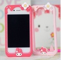 1PCS Retail Package New Candy Cute Rose My Melody & Hello Kitty & Stitch Silicone Frame Bumper Case Cover For IPhone 4 4G 4S