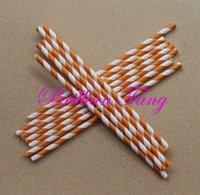 Free shipping 500pcs Color-48 Dark OrangeStripe Paper Straws,  Paper Straws, Drinking Paper Straws Drinking Straws