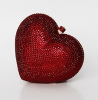 2013 red heart A crystal evening bag hard clutch box bag handcraft S0871 Free Shipping