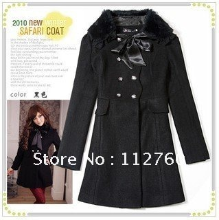 On sale Quality rabbit fur women wool coat 2012 fashion new long poncho outwear plus size coats winter S M L XL XXL XXXL(China (Mainland))