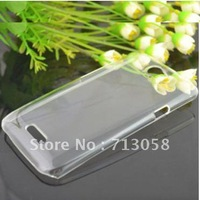 Free shipping 1pcs transparent pc Hard Back Skin Case Cover  & 1pcs anti-glare screen protector For HTC ONE X