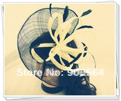 Free shipping multiple color elegant sinamay fascinator hats ,good wedding hats,high quality cocktail hat,Very nice,MSF102(China (Mainland))