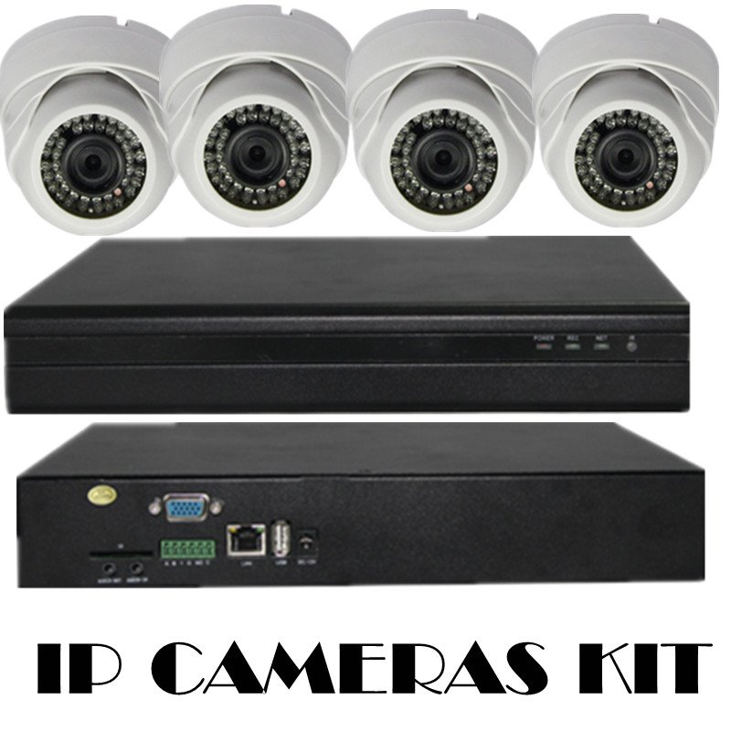 New Promotion! CCTV System CCTV Camera NVR 4CH HD 720P NVR Kit IP Camera with IR Night Vision Free shipping(China (Mainland))