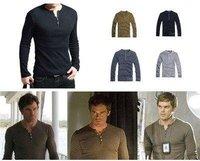 Mens Shirt Showtime Dexter Kill Shirt Henley Long Sleeve Slim Tee Army Black