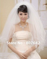 Free shipping wholesale price one-layer white/beige bridal veil/wedding veil/bridal accessories Cathedral 1.5M Sky-V043